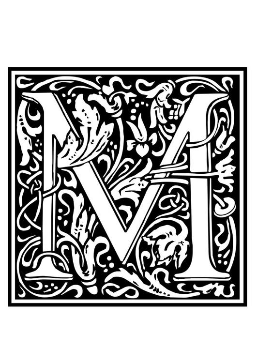 kleurplaat decoratief alfabet m gratis kleurplaten om