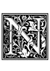 Kleurplaat decoratief alfabet - N