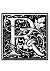 Kleurplaat decoratief alfabet - R