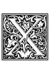 Kleurplaat decoratief alfabet - X