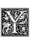 Kleurplaat decoratief alfabet - Y