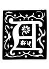 Kleurplaat decoratieve letter - a