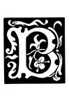 Kleurplaat decoratieve letter - b