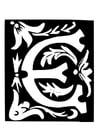 Kleurplaat decoratieve letter - e