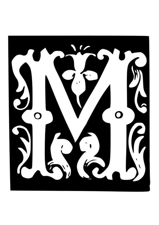 Afbeeldingen Kleurplaat Alfabet Kleurplaat Decoratieve Letter M Afb 19030