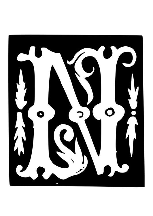 Kleurplaten Letter W.Kleurplaat Decoratieve Letter N Afb 19033 Images