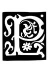 Kleurplaat decoratieve letter - p