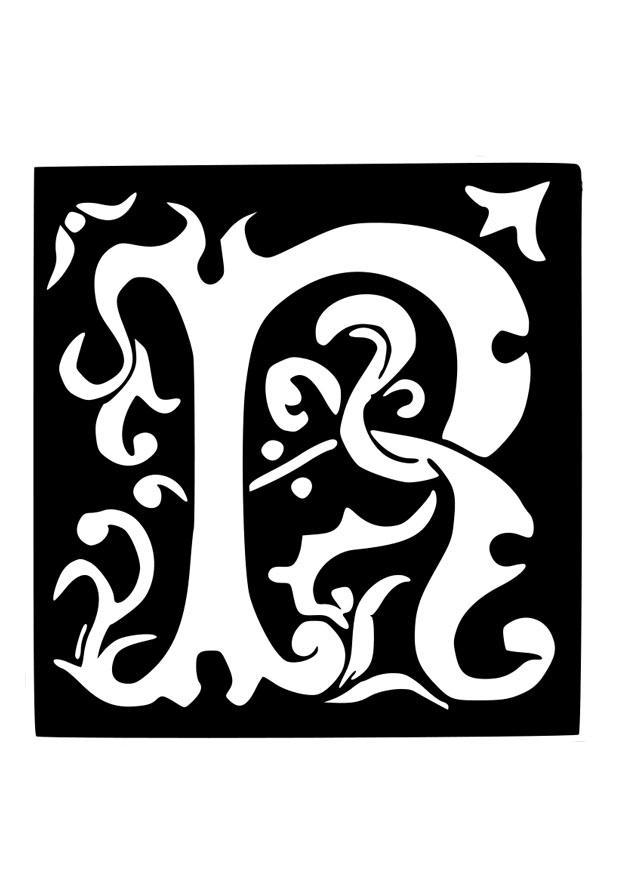 kleurplaat decoratieve letter r gratis kleurplaten om