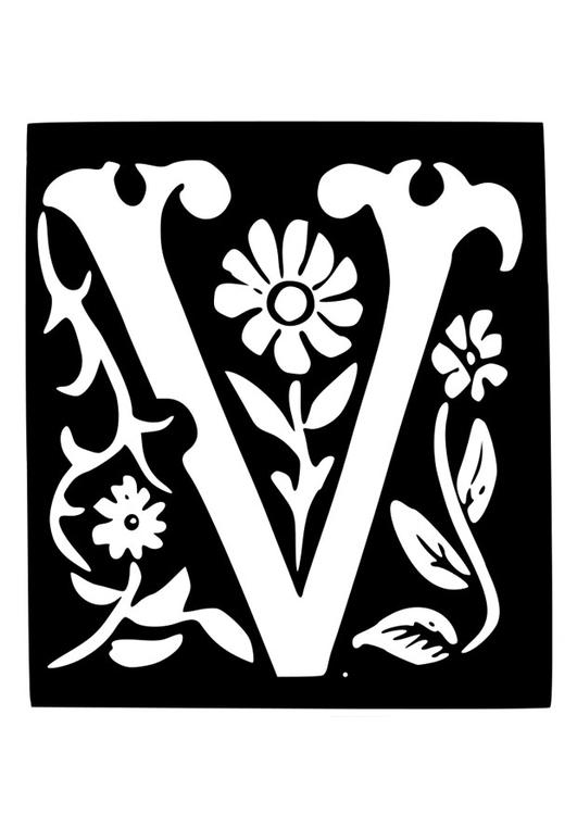 Kleurplaten Letter V.Kleurplaat Decoratieve Letter V Afb 19035 Images