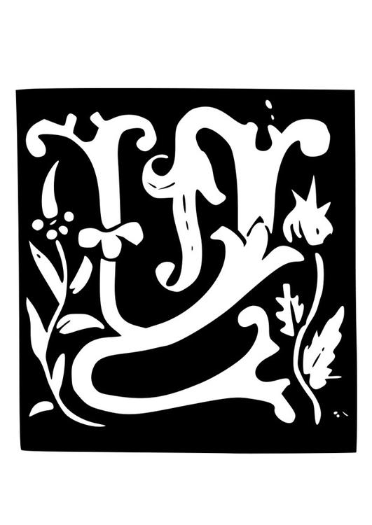 Kleurplaten Letter W.Kleurplaat Decoratieve Letter W Afb 19023 Images