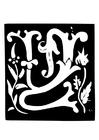 Kleurplaat decoratieve letter - w