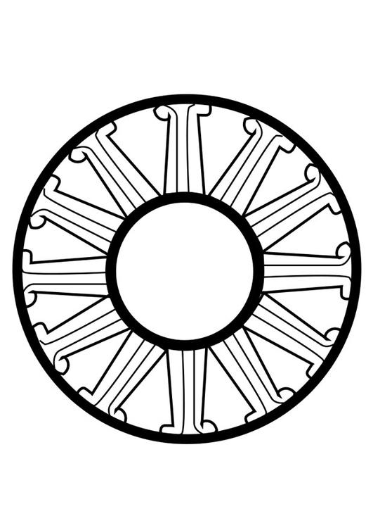 kleurplaat dharma wiel afb 25671