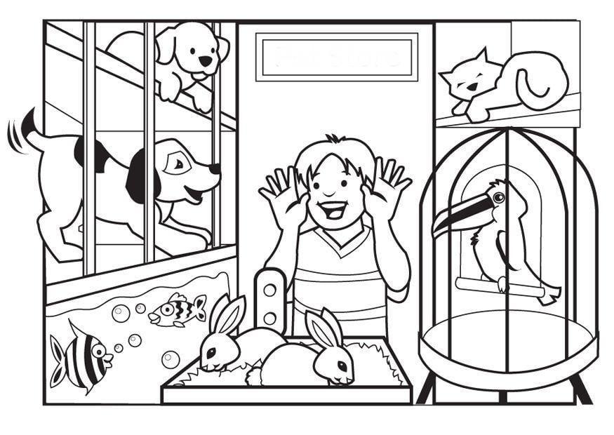 pet coloring pages to print - kleurplaat dierenwinkel afb 7080