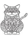 Kleurplaat dikke kat