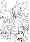Kleurplaat Dinosauriërs in landschap