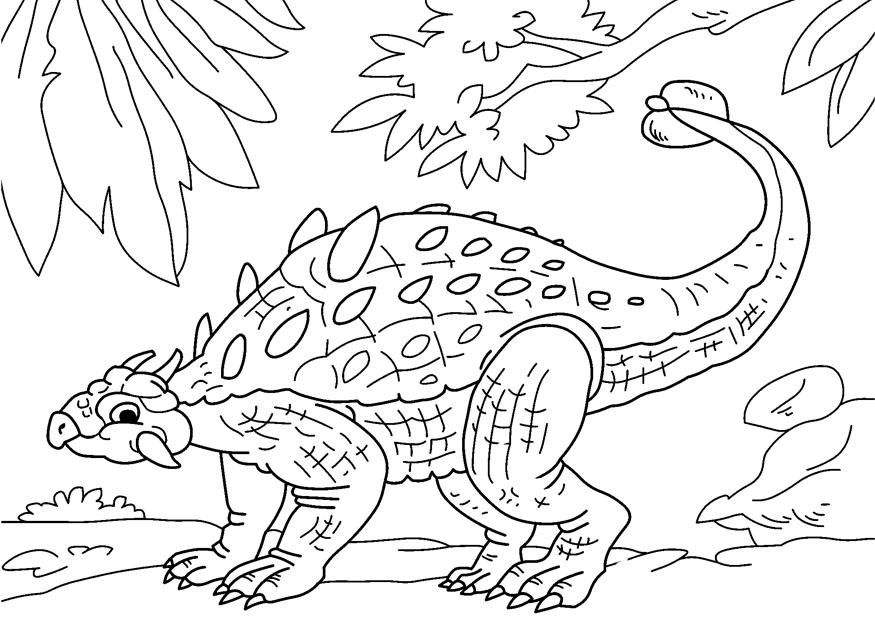 Oertijd Kleurplaat Kleurplaat Dinosaurus Ankylosaurus Gratis Kleurplaten