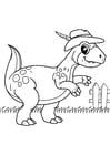 Kleurplaat dinosaurus gaat wandelen