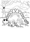 Kleurplaat dinosaurus in het bos