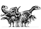 Kleurplaat groep dinosaurussen -  skeletten