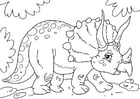 Kleurplaat dinosaurus - triceratops
