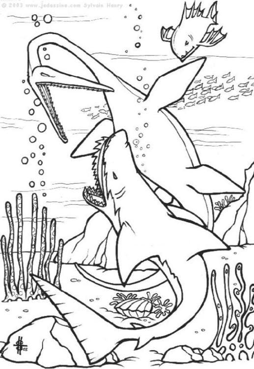 Kleurplaat dinosaurussen onder water afb 6440 - Mandala dinosaure ...