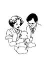 Kleurplaat dokter met baby