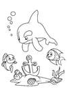 Kleurplaat dolfijn en vis met anker