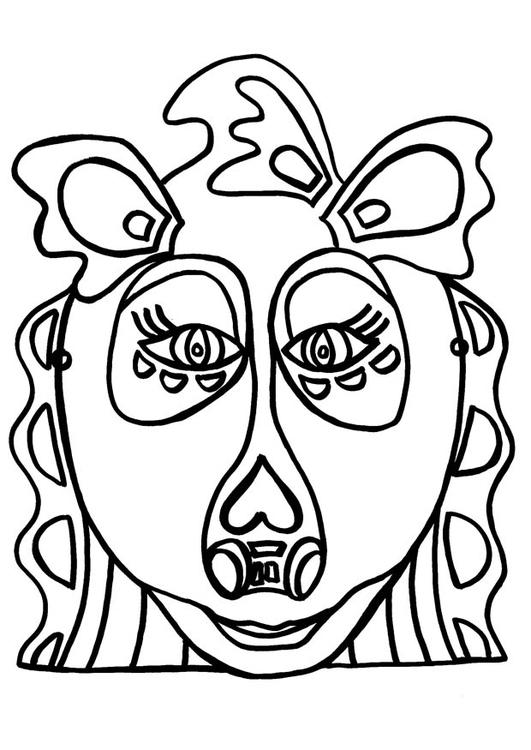 Kleurplaat Masker Draak Afb 9178