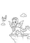 Kleurplaat draak gaat vliegen