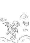 Kleurplaat draak vliegt met vogel