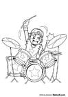 Kleurplaat drummer