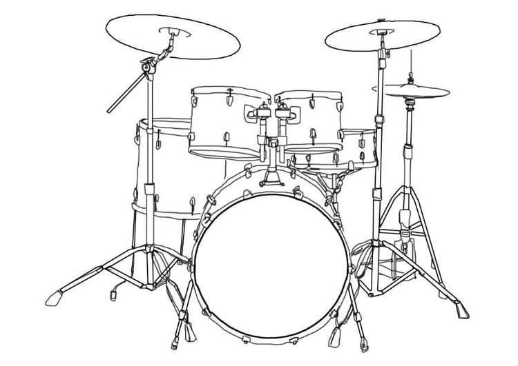 Kleurplaat Drumstel Afb 7002