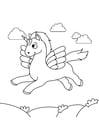 Kleurplaat eenhoorn vliegt in de lucht