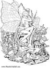 Kleurplaat elfenmeisje in bos