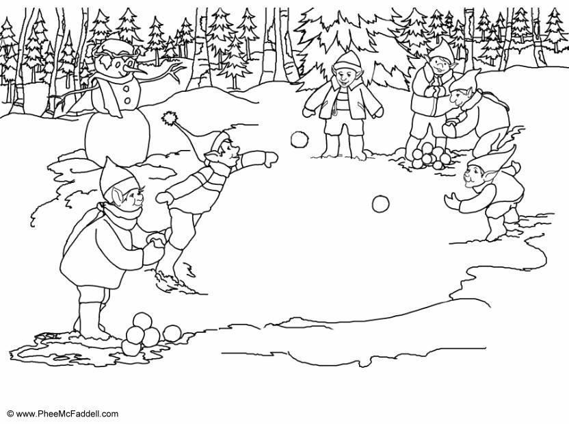 kleurplaat elfjes sneeuwballen gooien gratis