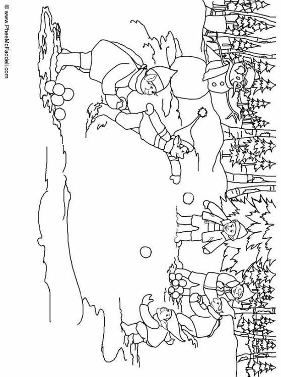 kleurplaat elfjes sneeuwballen gooien afb 6905