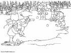 Kleurplaat elfjes - sneeuwballen gooien