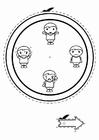 Kleurplaat emotie klok - jongens
