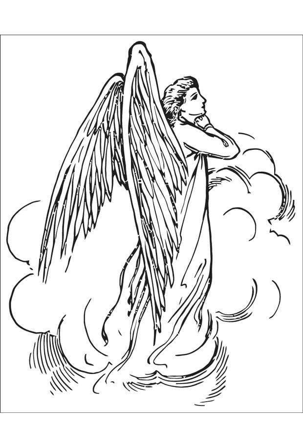 feliz kleurplaat engeltje op ster