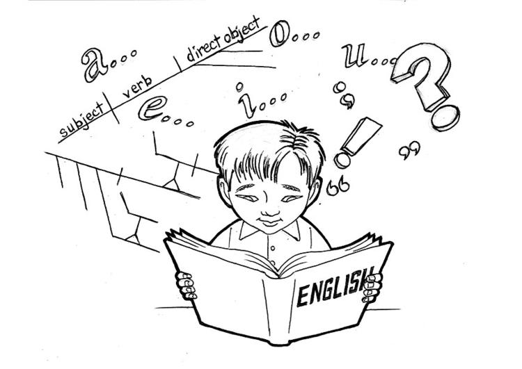 Kleurplaat Engels Studeren Afb 12428