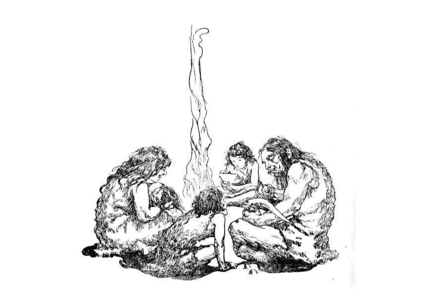 Oertijd Kleurplaat Kleurplaat Familie In De Prehistorie Gratis Kleurplaten