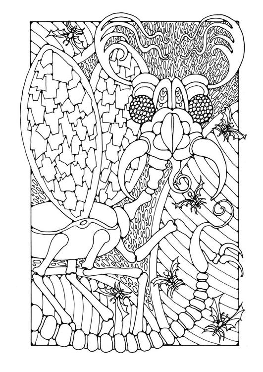 Kleurplaten Van Insecten.Kleurplaat Fantasie Insect Afb 25661