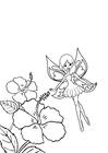 Kleurplaat fee bij bloemen