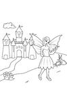 Kleurplaat fee bij kasteel