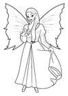 Kleurplaat fee met jurk en vlinder