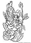 Kleurplaat fee tussen rozen