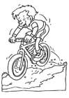 Kleurplaat fietsen op mountainbike