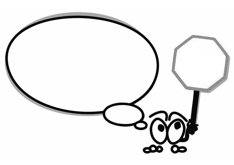 kleurplaat figuurtje met tekstballon en stopbord gratis