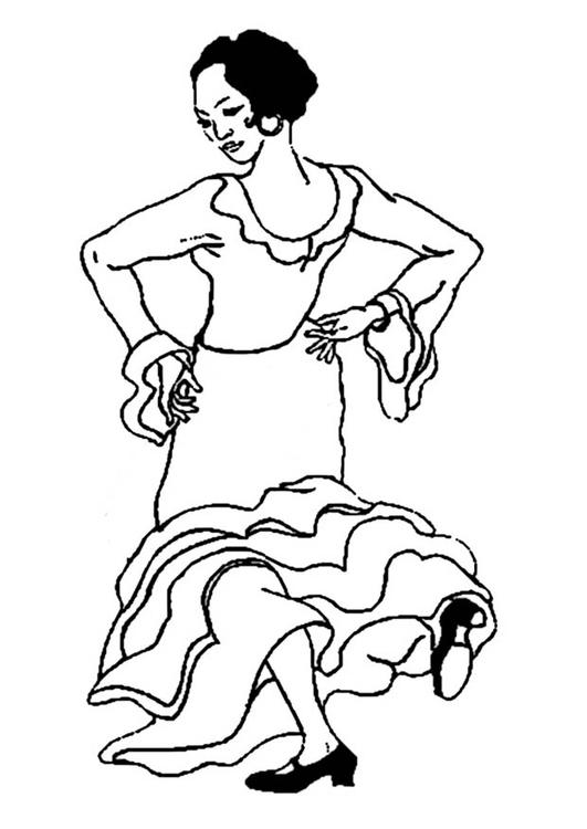 Kleurplaat Flamenco Danseres Afb 9353