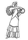 Kleurplaat flamenco jurk